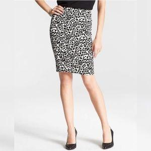 Ann Taylor Skirt White Leopard Print Pencil Plus